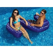 """77"""" Blue Duo Looped Circular Inflatable Swimming Pool Lounger With Cup Holders"""
