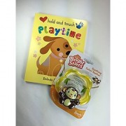 Baby Gift Bundle - 2 Items: Bright Starts Soothing Monkey Safari Teether Toy and Hold and Touch Playtime Book