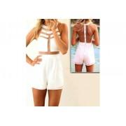 Tuta da donna mod Total White jumpsuit schiena nuda abito Mws ahead fashion party