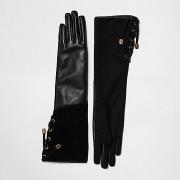 Manusi de piele lungi model cu siret negru