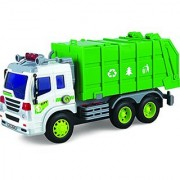 Toy Garbage Truck With Lights & Sounds TG640-G - Friction Powered Push And Go Truck Toy For Boys & Girls Aged 3+ By ThinkGizmos (Trademark Protected)