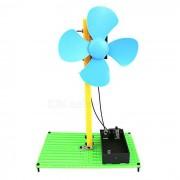Juguete educativo del kit del experto del mini ventilador de la ensambladura de DIY - verde + negro + multi-coloreado (2 * AA)
