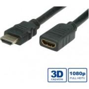 Roline VALUE HDMI produžni kabel sa mrežom, HDMI M - HDMI F, 5.0m