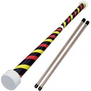 Jac Products Spiral Devil Stick with Wooden Hand sticks (Red/Yellow/Black)