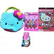 Hello Kitty Childrens Pretend Play Cosmetic Gift Set Includes Hello Kitty Face Purse , Hello Kitty Fruit Flavored Lip Balms, Hello Kitty Charm Bracelets, Hello Kitty Stickerbook 4 Sheets !