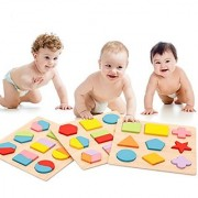 PhantomSky Wooden Baby Shape & Color Recognition Colorful Geometric Board Stack & Sort Puzzle Toy - 3 Pack