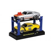 Ford Mustang GT Tuning, 2er-Set: silver/orange + met.-yellow, FoMoCo , 1969, Model Car, Ready-made,