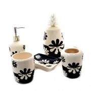 Accesorii pentru baie din ceramica - set alb cu negru 5 piese