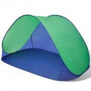 vidaXL Сгъваема плажна палатка, водоустойчива, зелена