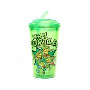 Silver Buffalo NT5484 Teenage Mutant Ninja Turtles Team Turtle BPA-Free Plastic Flip Straw Cup, 16 oz, Green
