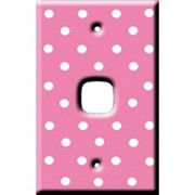 Light Switch Cover by Homeplates - Pale Pink Polka dots