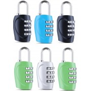DOCOSS Set Of 6-4 Digit Small Bag Brass Locks Travel Luggage Resettable Combination Password Safety Lock(Multicolor)