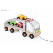 Fa húzogatós kamion Multi Cars Truck Janod versenyautókkal 2 éves kortól
