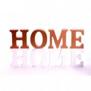 Felirat \HOME\ fa 17,5x8x2cm bronz-fehér (1db)
