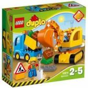 Конструктор ЛЕГО ДУПЛО - Камион и екскаватор с вериги, LEGO DUPLO, 10812