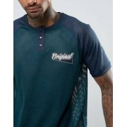 ASOS Relaxed T-Shirt With Grandad Neck And Chest Print In Mesh - Green