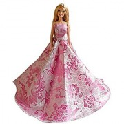 Barbie Strapless Pink Satin Gown with Elegant Vine Background Barbie Satin Gown