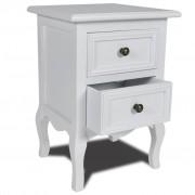 vidaXL Нощно шкафче с 2 чекмеджета, бяло