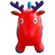 Red Bouncy Deer for Kids L&H Kid's Inflatable Horse Hopper (Inflatable Space Hopper Jumping Horse Ride-on Bouncy Animal)