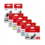 7 Pack Genuine Canon PGI-670XL, CLI-671XL High Yield Ink Combo [2BK,1PBK,1C,1M,1Y,1GY]