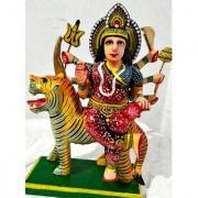 Handemed Corved Wooden Hand Painted Statue Of Maa Duraga Sitting On Singhasan