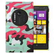 Heartly Army Style Retro Color Armor Hybrid Hard Bumper Back Case Cover For Nokia Lumia 1020 909 RM-875 - Hot Red