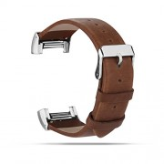 For Fitbit Charge 2 Bands, Genuine Leather Replacement Bands for Fitbit Charge 2 Coffee Brown with Metal Connectors