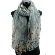 Accessorize-me. Écharpe sarong hijab maxi motif papillon 4 jolies couleurs estivales vintage - Viscose, Non renseigné, Gris