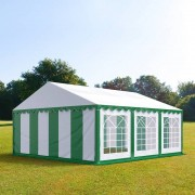 Intent24 5x6m tente de réception, PVC, H. 2m, vert-blanc