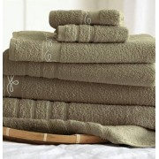 6 Piece Embroidered Egyptian Cotton Towel Set Vintage Ribbon (Taupe)
