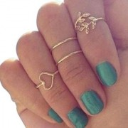 Meily(TM) Fashion Gold Plated Leaf Heart Joint Knuckle Nail Ring Set of Four Rings