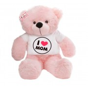 2 feet pink teddy bear wearing I Love Mom T-shirt