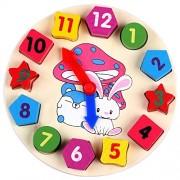 Linshop Cartoon Rabbit Baby Children's Cognitive Digital Clock Shape Wood System Blocks Clocks Toys From 1-5 Years...