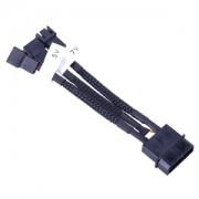 Cablu adaptor Phobya splitter multi-conector de la Molex 4pini la 3x3-pini 5V/7V/12V 10cm - black sleeving