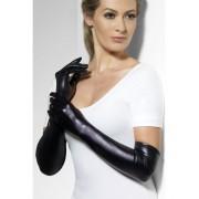 Long Black Wet Look Gloves