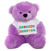 Purple 2 feet Big Teddy Bear wearing a Friends Forever T-shirt