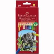 Creioane Colorate 10 culori + Ascutitoare Jumbo Faber-Castell