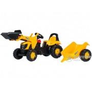 Tractor cu pedale și cupă Rolly Kid JCB, cu remorcă