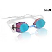 Svéd úszószemüveg petrol kék antifog tükrös metallic lencse, FINA jóváhagyott versenyszemüveg, Malms
