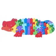 Smile YKK 3d de puzzles Baby juguete Madera de construcción construcción Puzzle Madera freno Animales Patrón multicolor Alligator Talla:Größe:35cm*11cm