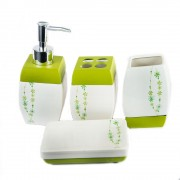 Frumos set de baie, cu 4 piese, design alb cu verde