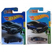 Hot Wheels 2016 Tesla Model S (Blue & Grey Variant Set) 2-Car Bundle