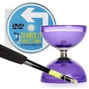 Purple Cyclone Quartz 2 Triple Bearing Diabolo & Black Superglass Diablo Sticks Set with Diabolo Directions DVD!