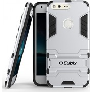 Quicksand Cubix Robot Case For Google Pixel Case Back Cover Warrior Hybrid Defender Bumper Shock Proof Case Armor Cover With Stand For Google Pixel Silver