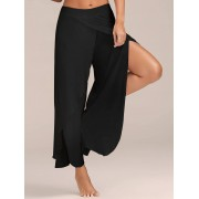 rosegal Flowy Layered High Waisted Slit Palazzo Pants