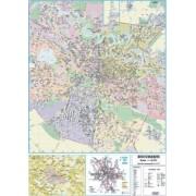 Harta de perete, Bucuresti, plastifiata 100x140 cm
