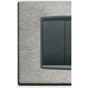 > Eikon - placca Classic Inox in acciaio 7 posti inox antracite spazz.
