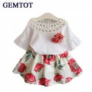 2017 Summer Fashion Girls Clothing Sets Kids Baby Wear Printed Flower Short Sleeve Tops + Dresses Children Brief Clothes Suits