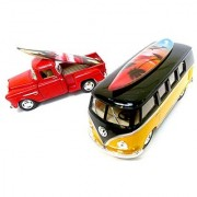 California Surf Board V.w Bus and Pick up Chuck with Surf Board Medium Size 6 X 3 x2 Two Car Sets