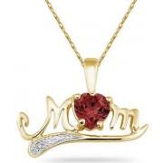 10K Gold Garnet and Diamond MOM Pendant
